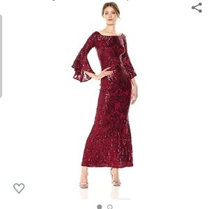 Stunning Betsy & Adam Red Sequin Gown